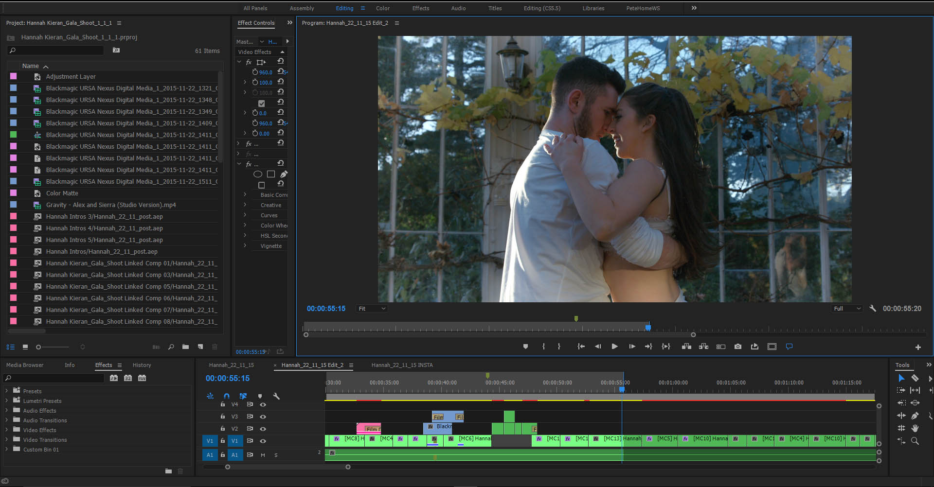Video editing in Adobe Premiere Pro CC 2017.